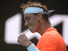 Rafael Nadal celebrates after defeating Italy's Fabio Fognini (Andy Brownbill/AP)