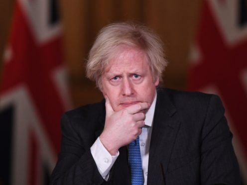 Prime Minister Boris Johnson during a media briefing (Stefan Rousseau/PA)