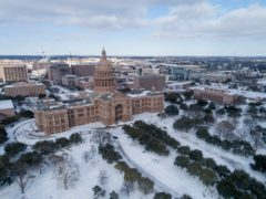 The Capitol grounds are covered in snow in Austin, Texas (Jay Janner/AP)