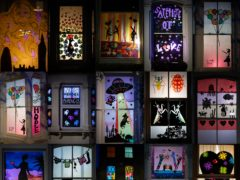 A composite image showing windows decorated as part of the first Homerton & Clapton Window Wanderland festival (Aaron Chown/PA)