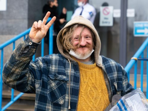 Anti-HS2 protester Scott 'Scotty' Breen, also known as Digger Down, leaves Croydon Magistrates' Court (Dominic Lipinski/PA)