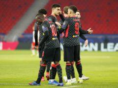 Liverpool celebrate after Sadio Mane scores their second (Trenka Attila/PA)