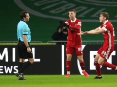 Aberdeen appealed in vain for a penalty (Andrew Milligan/PA)