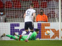 Borna Barisic scored two penalties as Rangers beat Royal Antwerp (PA Wire via Belga)