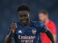 Bukayo Saka scored the equaliser as Arsenal drew with Benfica in the Europa League (Marco Iacobucci/PA)