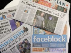 Front pages of Australian newspapers showed stories criticising Facebook on Friday (Rick Rycroft/AP)