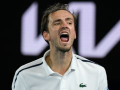 Daniil Medvedev roars on his way to victory over Stefanos Tsitsipas (Andy Brownbill/AP)