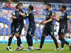 Tyler Walker (second left) celebrates scoring Coventry's first goal (Bradley Collyer/PA)