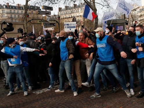 Supporters of the movement Generation Identity demonstrate in Paris (AP)