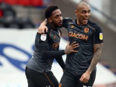 Mallik Wilks celebrates with Josh Magennis (Tim Goode/PA)