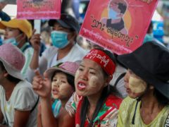 Anti-coup protesters in Myanmar (AP)