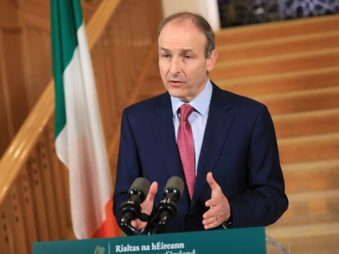 Taoiseach Micheal Martin at Government Buildings in Dublin, where he addressed the nation and held a press conference afterwards (Julien Behal Photography/PA)