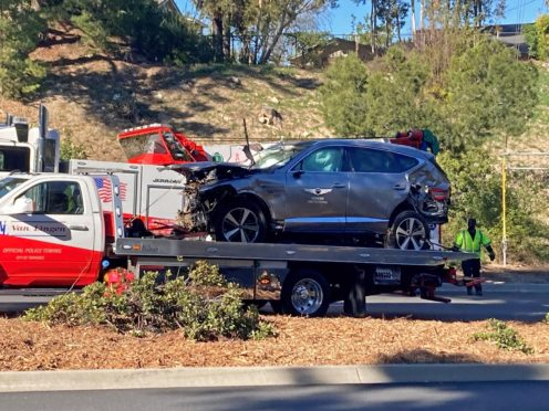 The vehicle driven by Tiger Woods on the back of a truck in Los Angeles (Kieran Southern/PA)