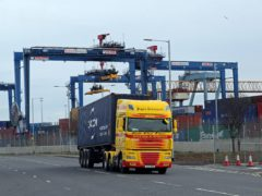 A freight lorry leaving Belfast Port (PA)