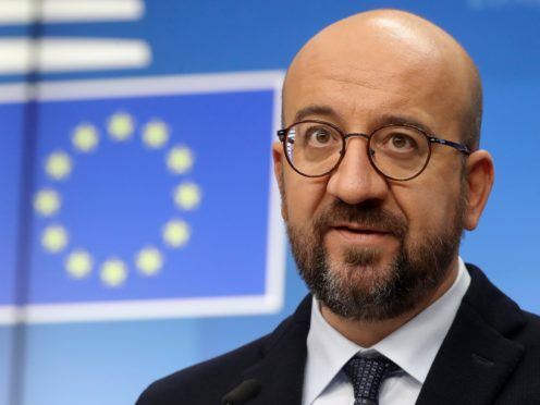 European Council President Charles Michel speaks during a media conference at an EU summit in Brussels (Olivier Hoslet, Pool via AP)