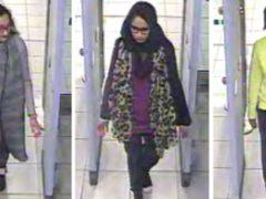 Kadiza Sultana, Shamima Begum (centre) and Amira Abase at Gatwick airport (Metropolitan Police/PA)