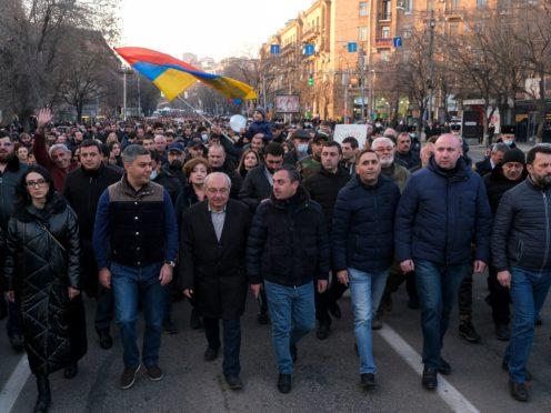 Opposition demonstrators during a rally to pressure Armenian Prime Minister Nikol Pashinyan to resign (Hrant Khachatryan/PAN Photo via AP)