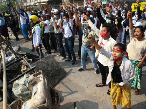Protesters in Yangon on Sunday (AP)