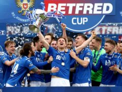 St Johnstone celebrate at Hampden (Andrew Milligan/PA)