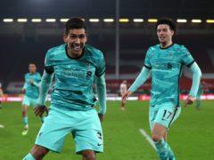 Roberto Firmino celebrates Liverpool's second goal (Lee Smith/PA)
