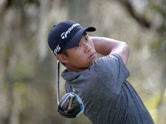 Collin Morikawa watches his tee shot on the ninth hole during the final round of the Workday Championship golf tournament Sunday, Feb. 28, 2021, in Bradenton, Fla. (AP Photo/Phelan M. Ebenhack)