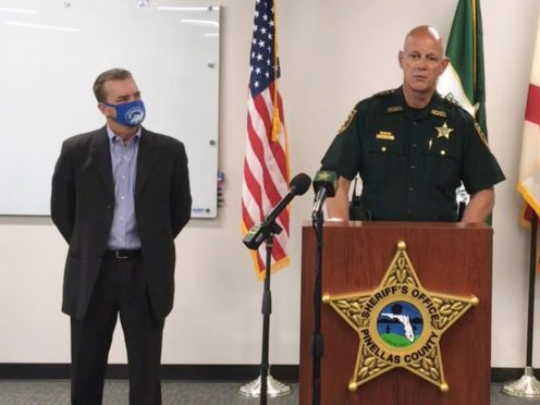 Pinellas County Sheriff Bob Gualtieri speaks during a news conference as Oldsmar, Florida (Pinellas County Sheriff's Office via AP)