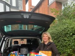 Victoria Hanson with her latest hampers for Hampers for Heroes (Hampers for Heroes/Victoria Hanson)