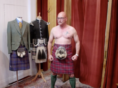 Gregg Wallace models a kilt (Channel 5/Rumpus Media/PA)