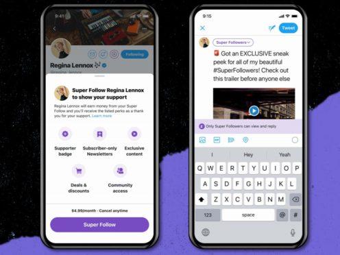 Twitter Super Follows feature (Twitter/PA)