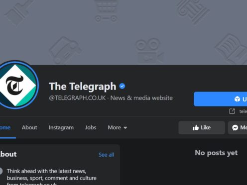 Content on the Telegraph's Facebook page disappeared until about 6.15pm (Facebook/PA)