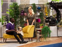 Vet Bolu Eso, presenter Sheridan Smith and dog Stanley on Pooch Perfect (Becky Robinson/Beyond Productions)