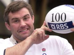Jason Leonard celebrates winning his 100th cap (Martyn Hayhow/PA)