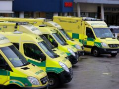 Ambulances outside the Royal Liverpool Hospital, in Liverpool (Peter Byrne/PA)