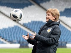 First Minister Nicola Sturgeon at Hampden Park (Jane Barlow/PA)