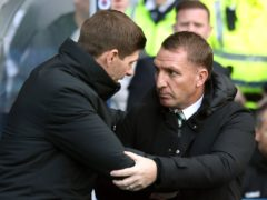 Brendan Rodgers, right, believes Celtic should applaud Steven Gerrard's side (Andrew Milligan/PA)