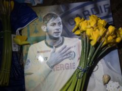 A tribute at Cardiff City Stadium for Emiliano Sala (PA)