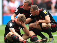 Sunderland's Max Power (left) is consoled by team-mates after the 2019 loss to Charlton (Mike Egerton/PA)