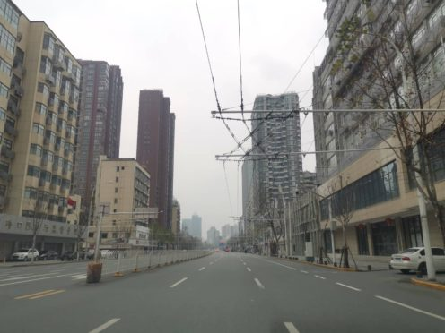 An empty street in Wuhan, China, following the coronavirus outbreak (PA)