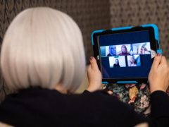 A group of women use the Zoom video conferencing application to have a group chat from their separate homes, during the UK coronavirus lockdown (PA)