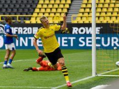 Dortmund striker Erling Haaland is set to face Manchester City next month (Martin Meissner/POOL)