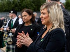Sinn Fein leader Mary Lou McDonald (left) and Deputy First Minister Michelle O'Neill during the funeral of senior Irish Republican and former leading IRA figure Bobby Storey (Liam McBurney/PA)