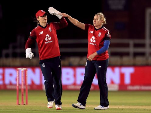 Katherine Brunt, right, and Amy Jones shone in England's victory (Mike Egerton/PA)