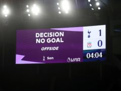 A goal is ruled out during Tottenham's clash with Liverpool (Catherine Ivill/PA)