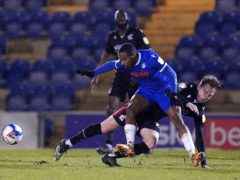 Colchester winger Callum Harriott (front) is away with Guyana (John Walton/PA)