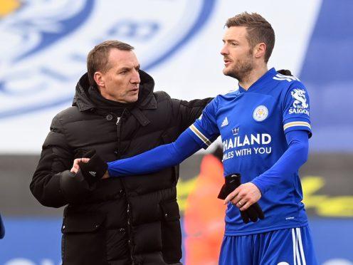 Leicester boss Brendan Rodgers (left) believes his talisman Jamie Vardy is getting back to his best (Michael Regan/PA)