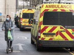 Ambulances at the Royal London Hospital in London during England's third national lockdown (Ian West/PA)