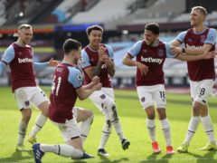 Jesse Lingard, centre, is thriving with West Ham (Kirsty Wigglesworth/PA)