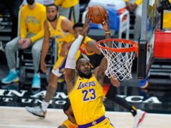 Los Angeles Lakers forward LeBron James top-scored with 19 points against Golden State Warriors (Rick Bowner/AP)