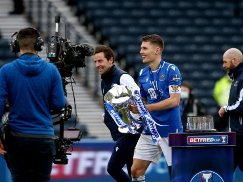 St Johnstone captain Jason Kerr with the Betfred Cup (Andrew Milligan/PA)