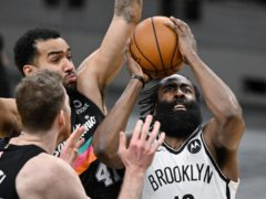 James Harden collected a triple-double as his Brooklyn Nets beat the depleted San Antonio Spurs (Darren Abate/AP)